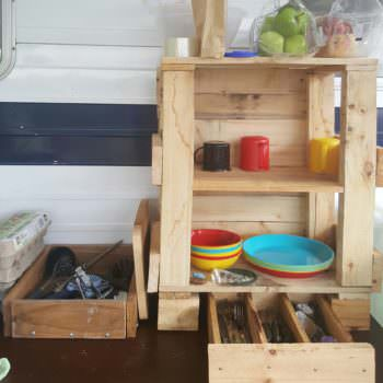 Creatively Improvised Pallet Camp Kitchen Tidy