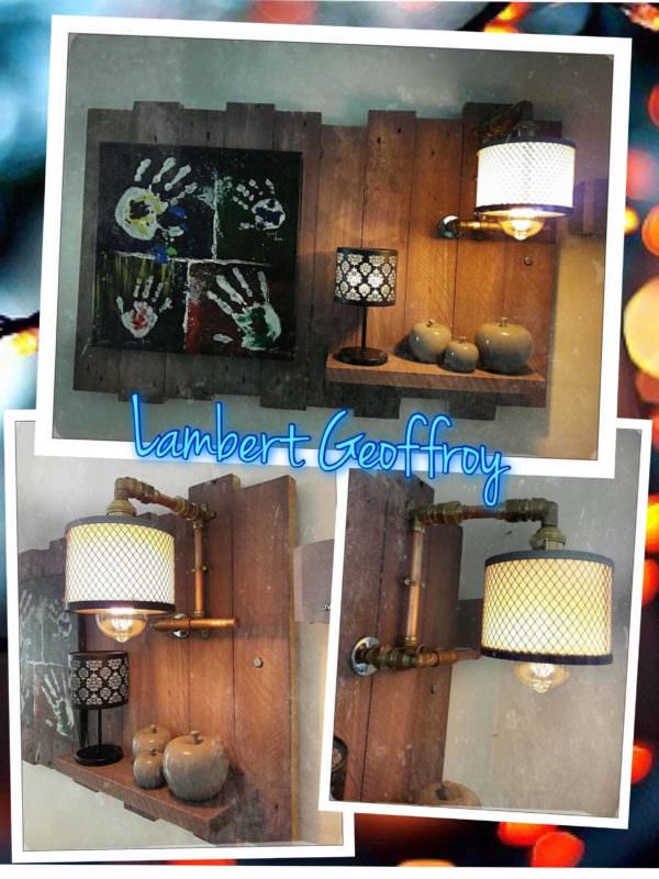 Industrial Chic Pallet Wall Art Panel Pallet Lamps & Lights Pallet Wall Decor & Pallet Painting