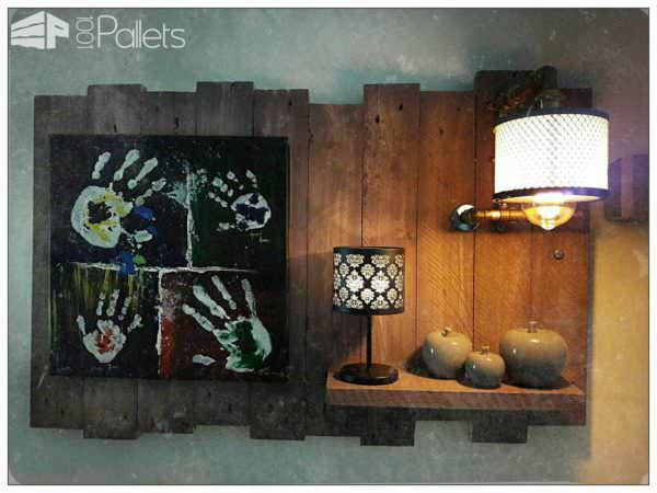 Industrial Chic Pallet Wall Art Panel Pallet Lamps, Pallet Lights & Pallet Lighting Pallet Wall Decor & Pallet Painting