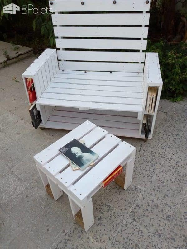 Pallet Book-bench and Petite Coffee Table Pallet Benches, Pallet Chairs & StoolsPallet Desks & Pallet Tables