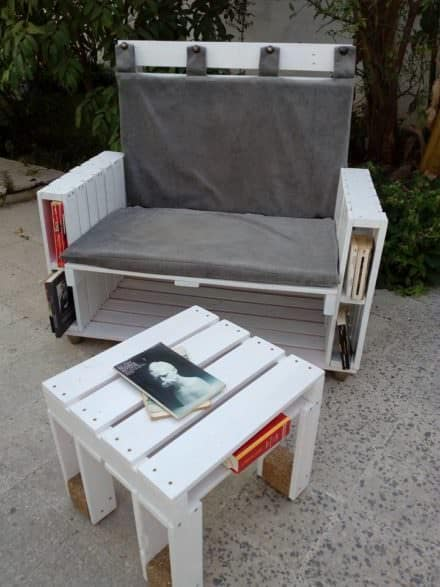 Pallet Book-bench and Petite Coffee Table
