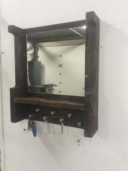 Pallet Mirrored Key Holder/Shelf