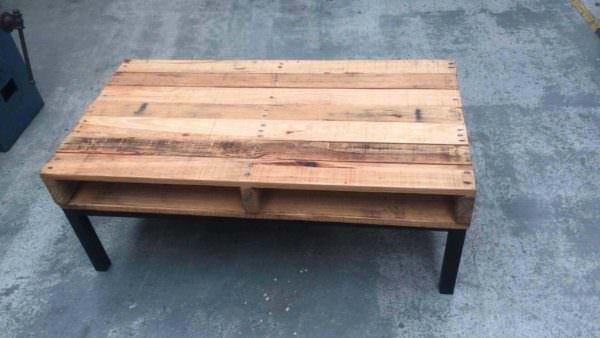Rustic Meets Modern Steel-framed Pallet Coffee Table Pallet Coffee Tables