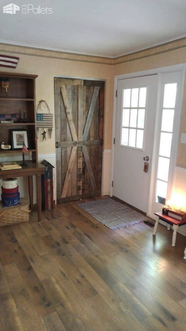 Rustic Sliding Pallet Closet Door Set Pallet Walls & Pallet Doors