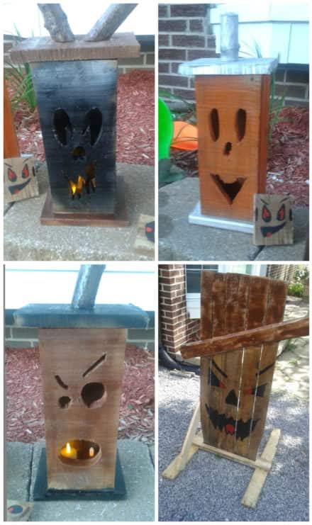 Spooky Pallet Lamp Trio, Scary Pallet Signs