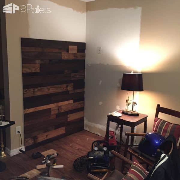 Transformed Faux Fireplace Into Cozy Pallet Reading Nook Pallet Walls & Pallet Doors