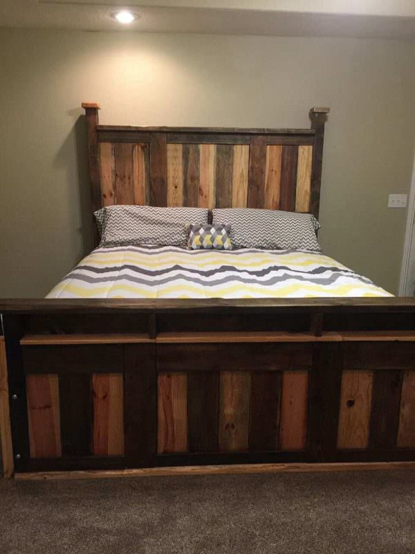 Two-toned Pallet King Size Bed Frame DIY Pallet Bed Headboard & Frame