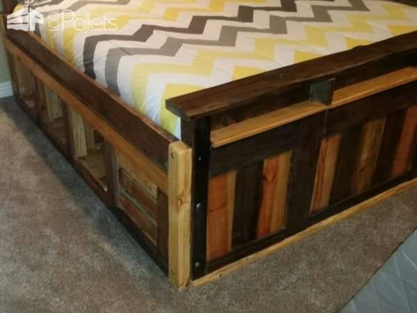 Two-toned Pallet King Size Bed Frame Pallet Beds, Pallet Headboards & Frames