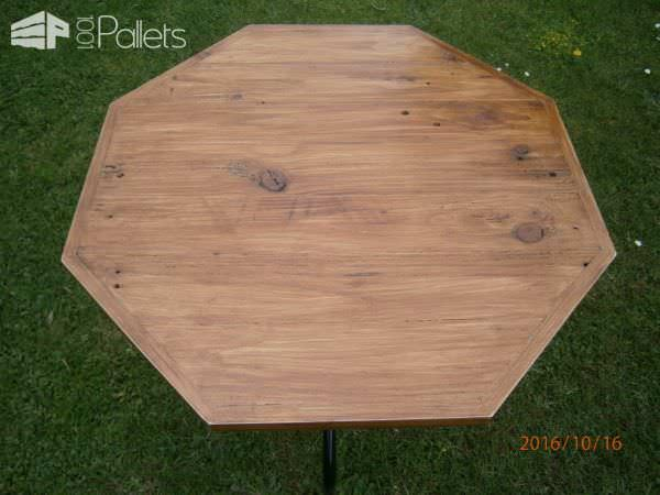 Upcycled, Octagonal Pallet Patio Table Pallet Desks & Pallet Tables
