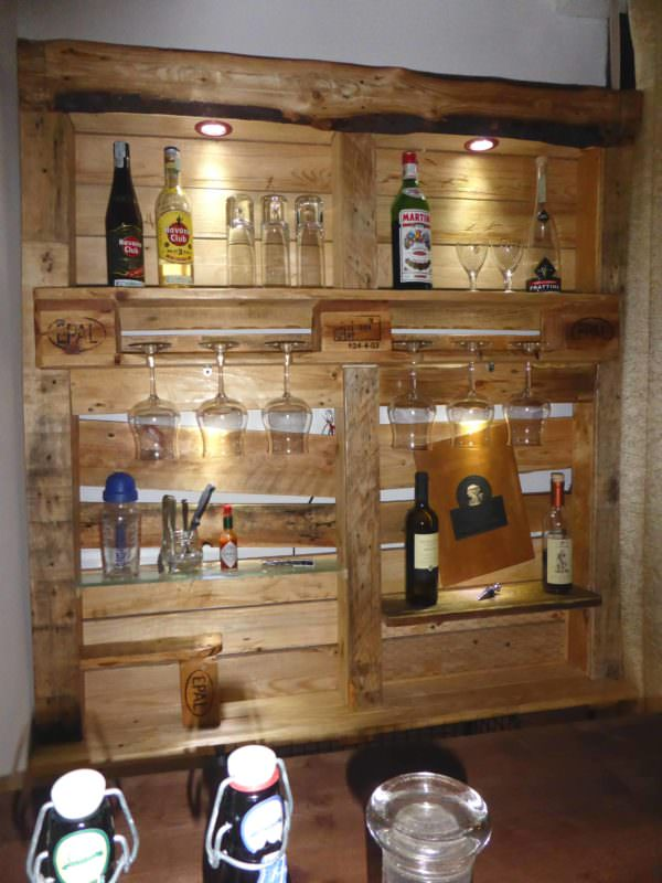 Beautiful Lit Pallet Liquor / Stemware Shelf DIY Pallet Bars