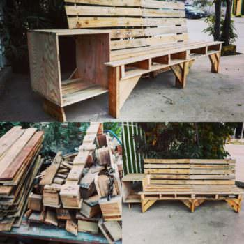 Cool Combo Pallet Outdoor Couch End Table Unit