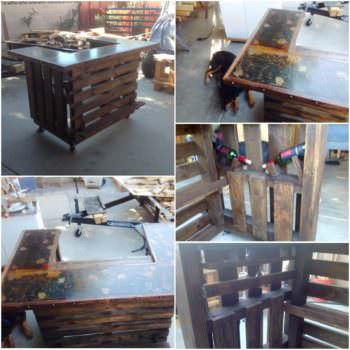 Custom Metal-topped Rustic Pallet Bar