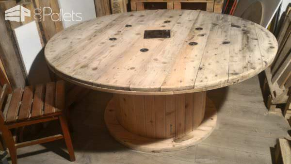 Drum Table Pallet Bench Set / Table Touret Et Ses Bancs Pallet Desks & Pallet Tables