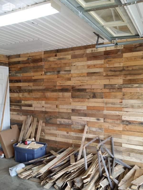 Garage Transformed Into Super Pallet Garage! Pallet Wall Decor & Pallet Painting Pallet Walls & Pallet Doors