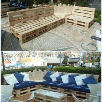 Outdoor Pallet Sectional Set / Maxi Divano Fatto Con I Pallet