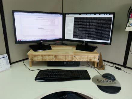 Pallet Monitor Stand Makes Desks More Ergonomic