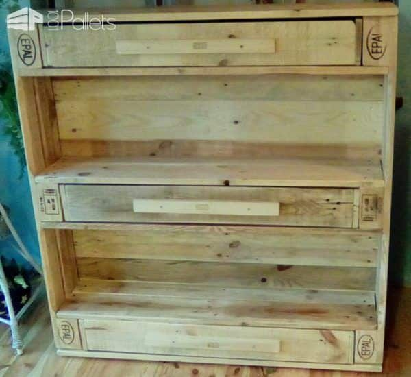 Unique 3-drawer Epal Pallet Bookshelf Pallet Bookcases & Pallet Bookshelves