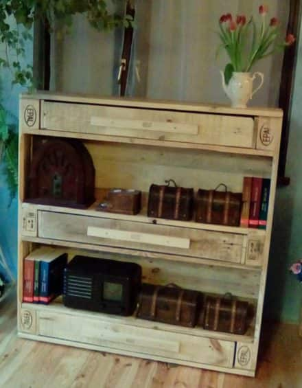 Unique 3-drawer Epal Pallet Bookshelf