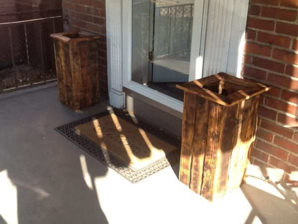 Woodburned Pallet Planter Pair1