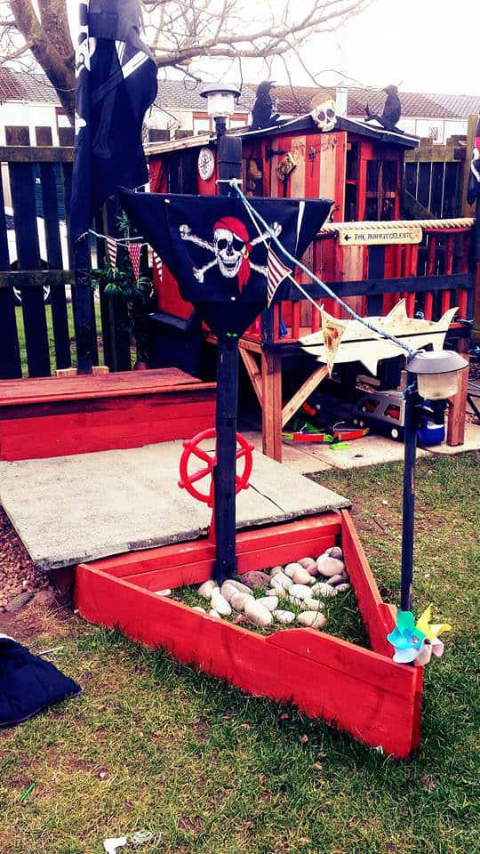 Ahoy Matey Pallet Pirate Ship Sand Pit Fun Pallet Crafts for KidsPallets in the Garden