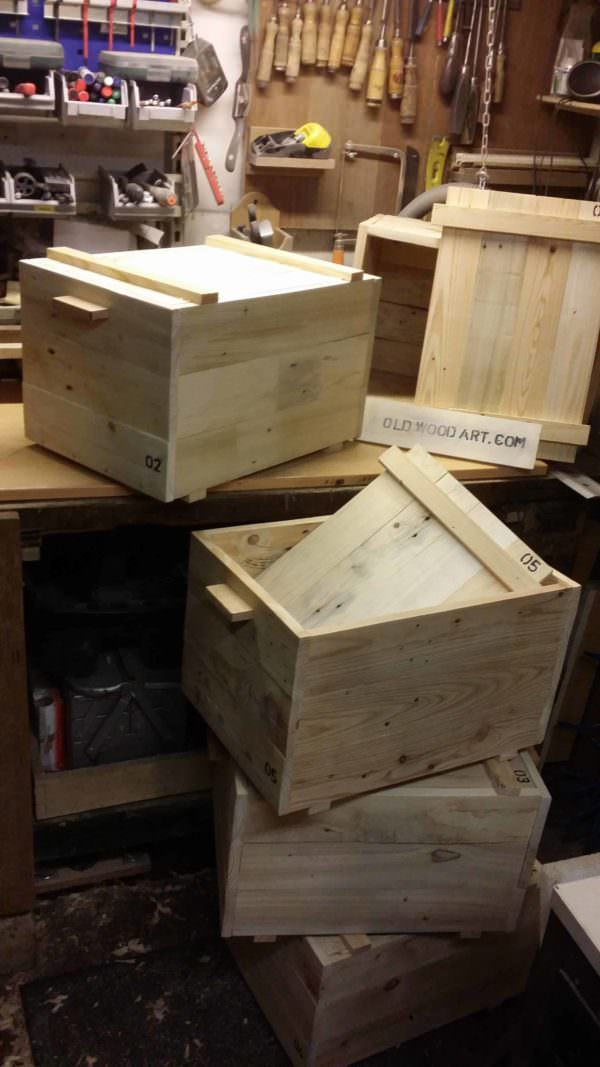 Beautiful Oldschool Handmade Pallet Storage Boxes Pallet Boxes & Chests