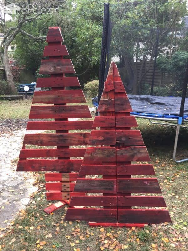 Cheery Cherry-red Pallet Christmas Trees / Sapin Noël En Palette Pallet Home Decor