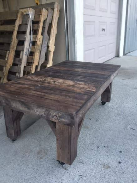 Chunky Rustic Pallet Table On Wheels