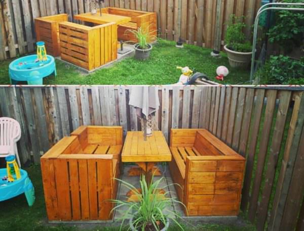 Comfortable Modern Modular Pallet Picnic Set Lounges & Garden Sets