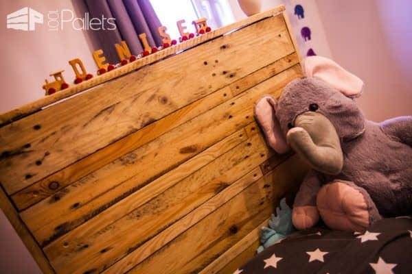 Daughter's First Bed Using Pallets / Un Lit En Palette Sur Roulette DIY Pallet Bed Headboard & FrameFun Pallet Crafts for Kids