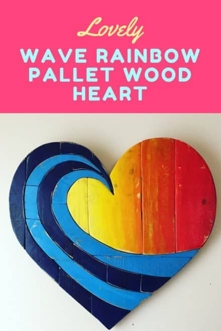Lovely Wave Rainbow Pallet Wood Heart