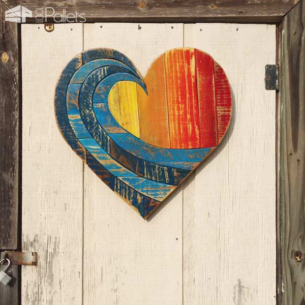Lovely Wave Rainbow Pallet Wood Heart Pallet Home Décor Ideas