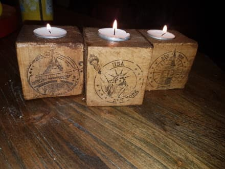 Pallet Block Candle Holders/Bougeoir Personnalisé