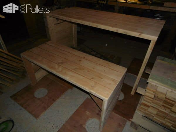 Pallet Desk/Bench Set Featuring Recycled Shed Beams Pallet Desks & Pallet Tables