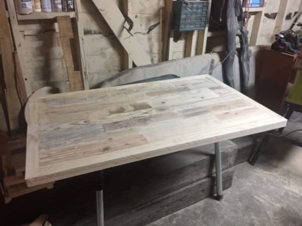 Prototype Adjustable Pallet Sit/Stand Desk Pallet Desks & Pallet Tables