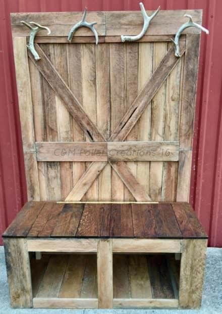 Rustic 6-foot Tall Pallet Hall Tree / Bench