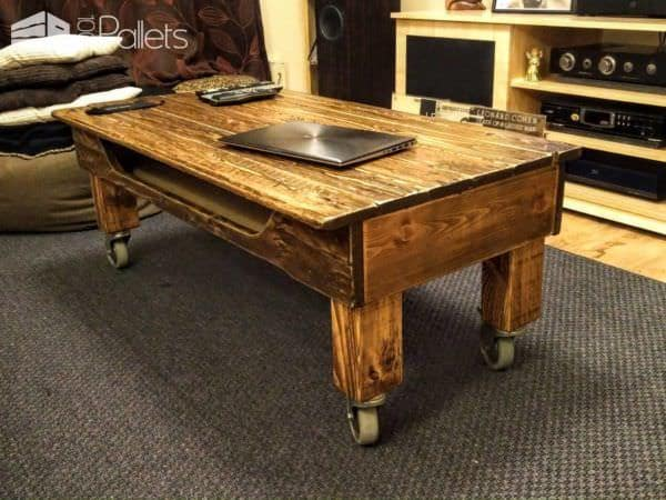 Simple Pallet Coffee Table On Wheels Pallet Coffee Tables