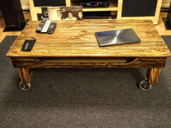 Pallet Coffee Table On Wheels1