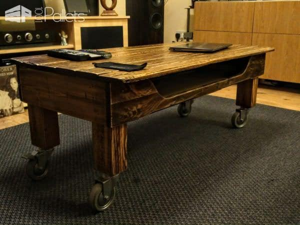 Pallet Coffee Table On Wheels4