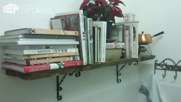 Simple Rustic Pallet Kitchen Shelf Pallet Bookcases & Bookshelves