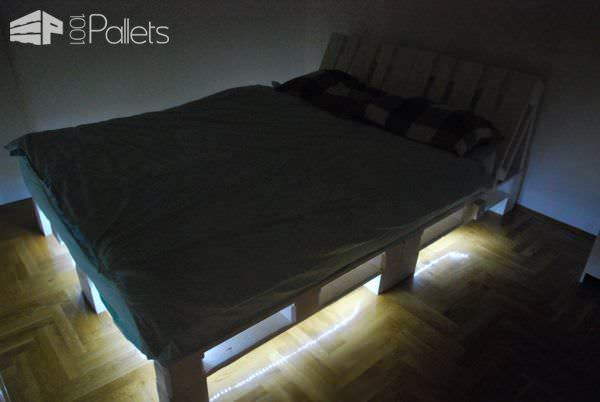 Underlit Pallet Double Bed