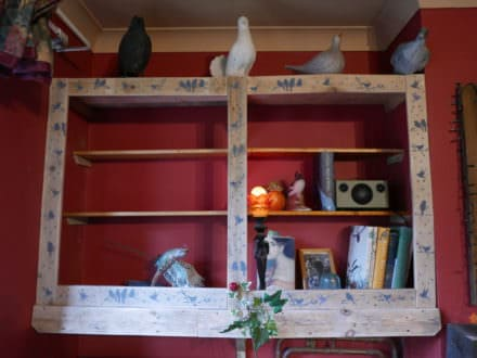 Avian-themed Painted Pallet Shelving Unit