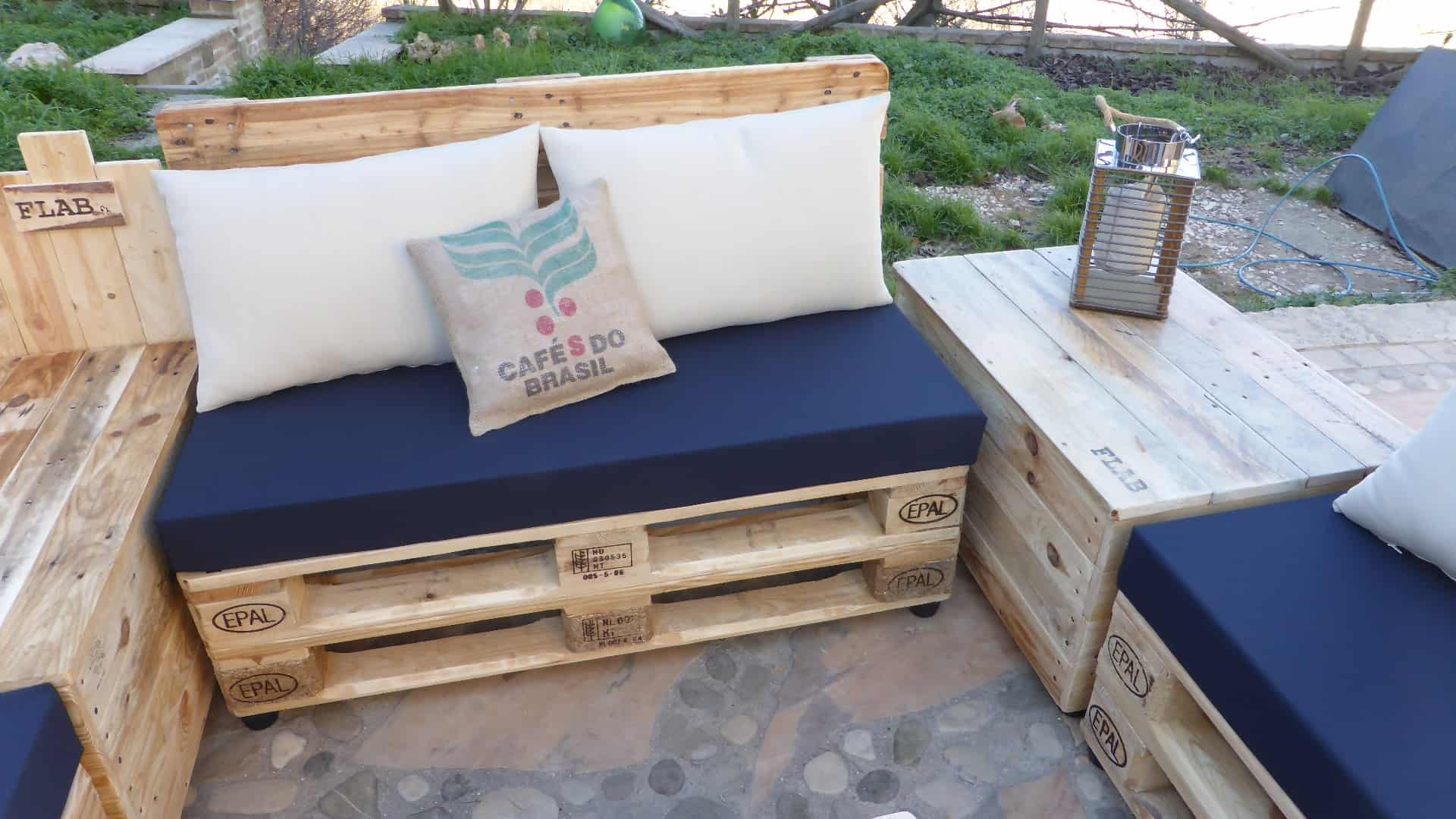 Coffee Bean Pillow Pallet Lounge Set Divano Modulare Con