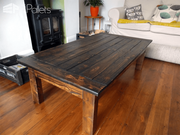 Dark Stained Pallet Coffee Table1
