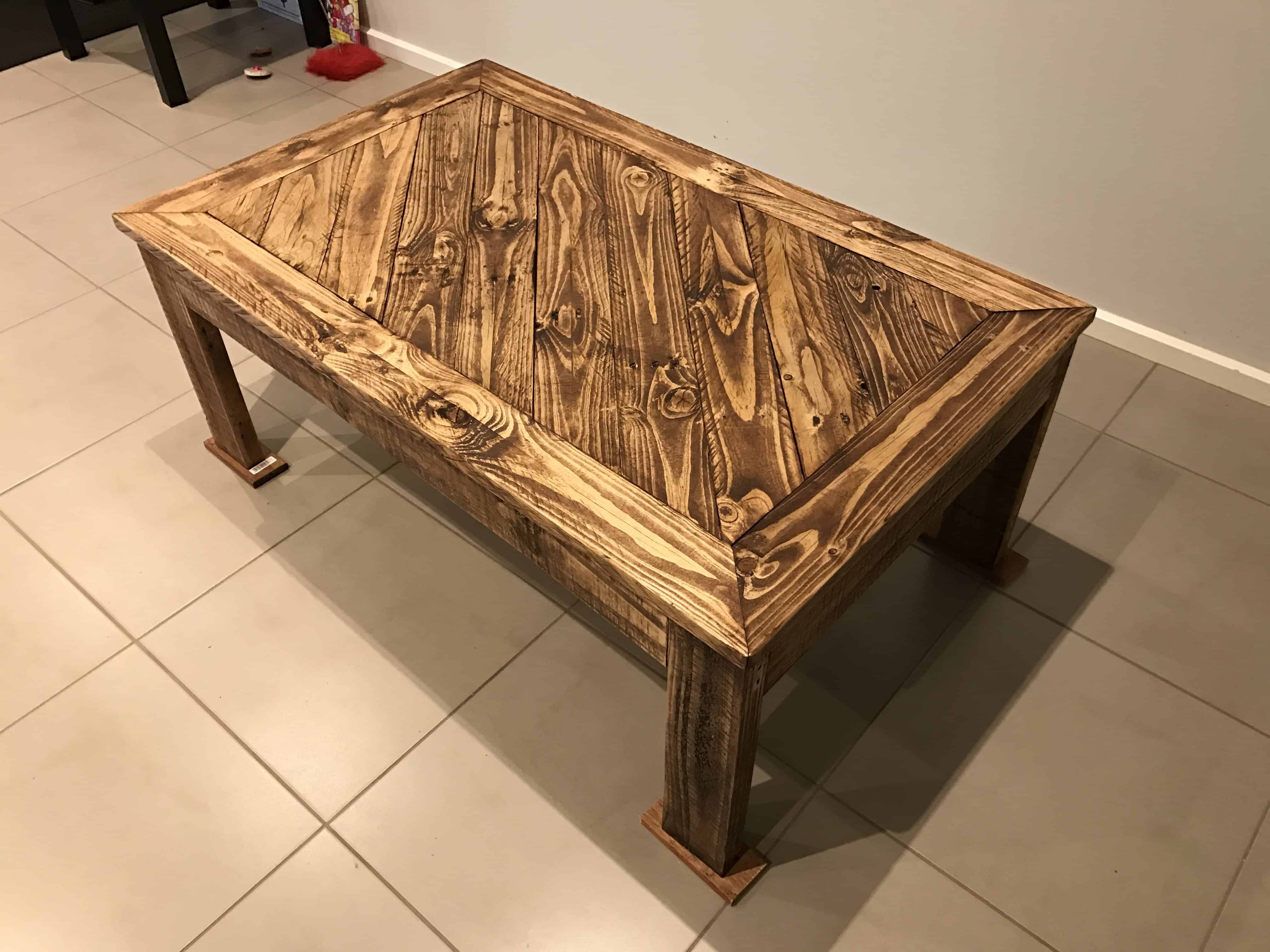 Hand Made Angled Design Pallet Coffee Table Ideas