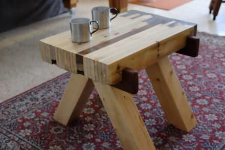 Japanese-style Pallet Wood Concrete-ended Table