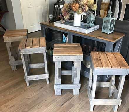 Pallet Stringer Bar Stools Look Pretty Cool!