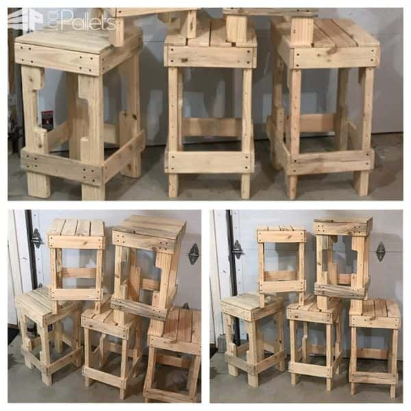 Pallet Stringer Bar Stools Look Pretty Cool! Pallet Benches, Pallet Chairs & Stools