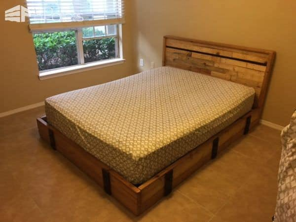 Pallets & Misc Warehouse Parts Can Make a Good Bed DIY Pallet Bed Headboard  & Frame