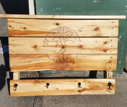 Pretty Woodburned Tree of Life Pallet Coat Rack
