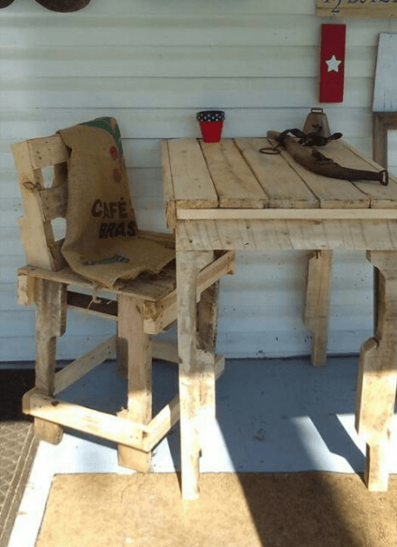Relax With This Pallet Porch Table/Chair Set